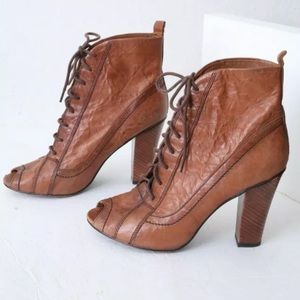 Sam Edelman Venice Brown Lace Up Booties Steampunk